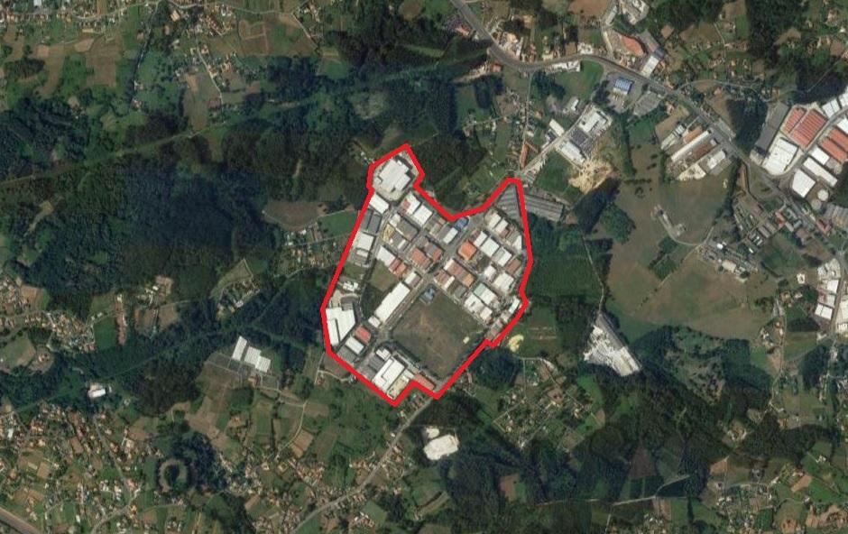 Vista aérea del Polígono Industrial Espíritu Santo, Cambre - A Coruña