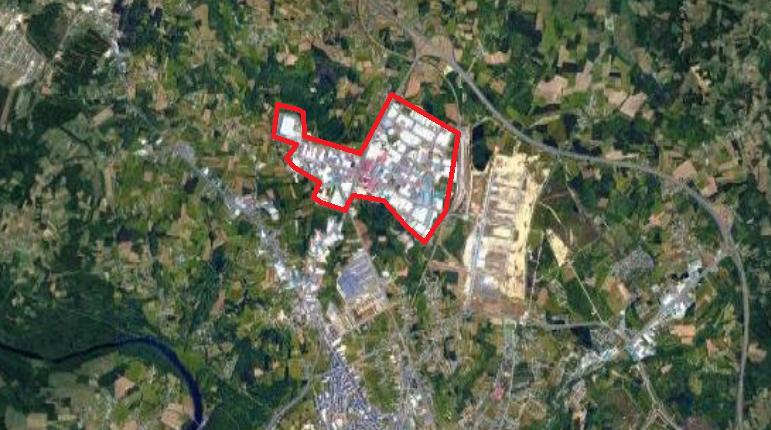 Vista áerea del polígono industrial O Ceao en Lugo